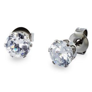 West Coast Jewelry Stainless Steel 4 mm Cubic Zirconia Stud Earrings