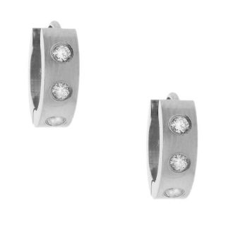 Moise Stainless Steel Mens Cubic Zirconia Hoop Earrings
