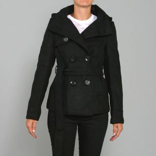 Blue Axes Womens Wool Half Coat with Hood in Black