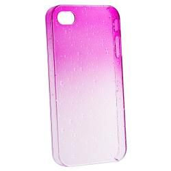 Clear Hot Pink Waterdrop Snap on Case for Apple iPhone 4/ 4S