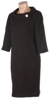 Norton McNaughton Black Turn Back Collar Dress