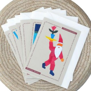 Set of 6 Corn Husk and Recycled Paper Santa Greeting Cards (Nicaragua