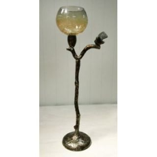 Rojo 16 Costa Brava Crackle Glass T light Holder   21 in.   Candle