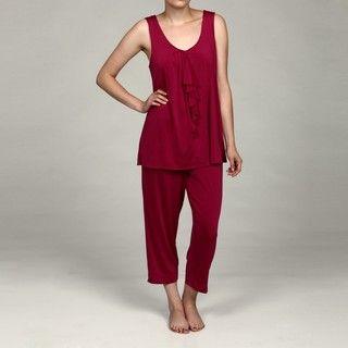 Ellen Tracy Womens Raspberry Cropped Pajama Set