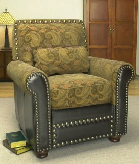 Paisley Pine Leather Chair with Lumbar Pillow