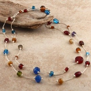 Glass Colors of Life Long Multi strand Beaded Necklace (India
