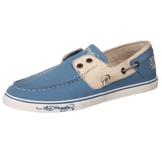 Ed Hardy Mens Del Mar Blue Canvas Boat Shoes