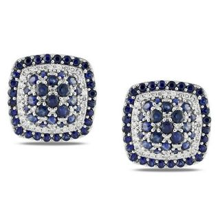 14k White Gold Sapphire and 2/5ct TDW Diamond Cuff Links (G H, SI1 SI2