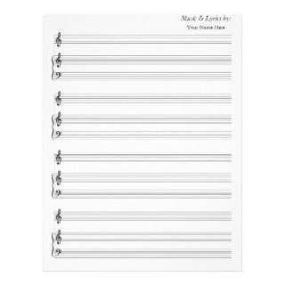 Blank Sheet Music 4 Stave String Quartet Letterhead