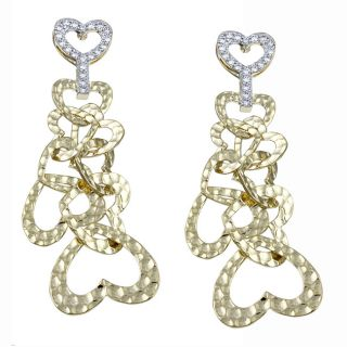 Ultimate CZ 14k Gold Overlay Cubic Zirconia Hammered Heart Earrings