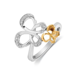 Jessica Simpson Silver and 10K Gold 1/10 ct TDW Diamond Butterfly Ring