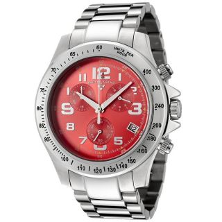 Swiss Legend Mens Eograph Red Dial Stainless Steel Chronograph Watch