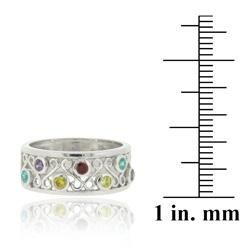 Icz Stonez Sterling Silver Multi colored Cubic Zirconia Ring
