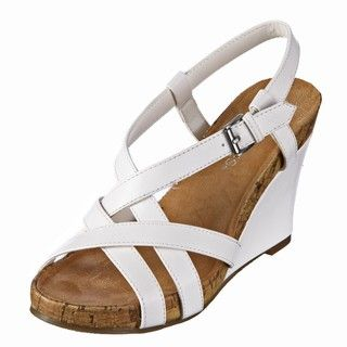 Aerosoles Womens At First Plush White Wedge Sandals