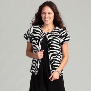 Live A Little Womens Zebra Faux Fur Cap Sleeve Top
