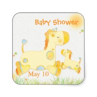 Baby Shower Thank You Flat Cards Safari Giraffes Announcements