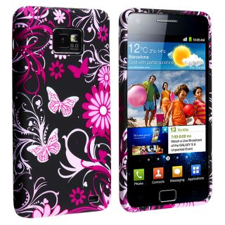 Black Flower/ Butterfly TPU Rubber Skin Case for Samsung Galaxy S II