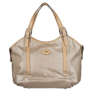 Tods Beige Coated Canvas Tote Bag