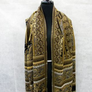 Paisley Floral Fashion Scarf with Gold Threading and Sequins
