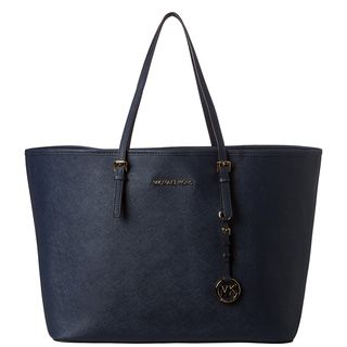 MICHAEL Michael Kors Jet Set Medium Navy Saffiano Leather Travel