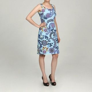 Jessica Howard Womens Beaded Printed Dress