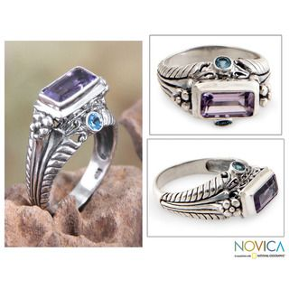 Sterling Silver Sea Temple Amethyst and Blue Topaz Ring (Indonesia