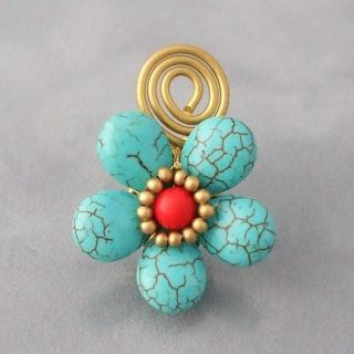 Brass Wire Turquoise and Red Coral Flower Wrap Ring (Thailand