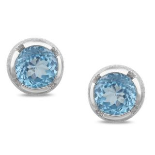 New York Gems Sterling Silver Sky Blue Topaz Earrings