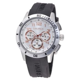 Haurex Italy Mens Premiere Rubber Strap Chronograph Watch