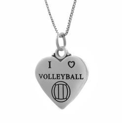 Tressa Sterling Silver I Love Volleyball Heart Necklace