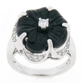 Meredith Leigh Sterling Silver Onyx and Cubic Zirconia Flower Ring