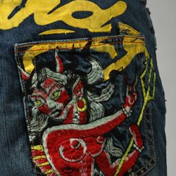 Ed Hardy Mens Jerry Wash Mermaid Jeans