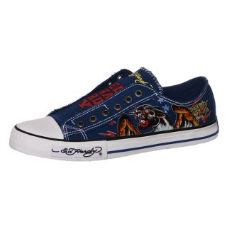 Ed Hardy Mens Navy Lowrise Canvas Slip on Sneakers