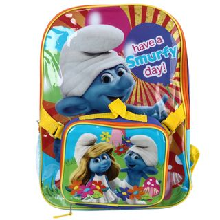 Smurfs Have a Smurfy Day 16 inch Backpack with Lunch Bag