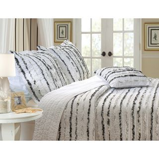Midnight Ruffle Quilted King size Pillow Shams (Set of 2)
