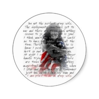 army wife poem round sticker