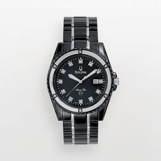 Bulova Marine Star Stainless Steel Black Ion Diamond Accent and Mother