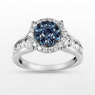10k White Gold 1 3/4 ct. T.W. Blue and White Diamond Frame Ring