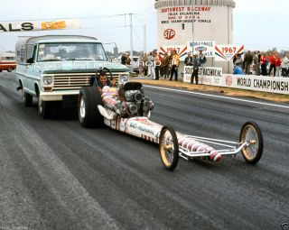DON PRUDHOMME IN HIS FRONT ENGINE DRAGSTER TAKEN IN 1967 8x10 GLOSSY