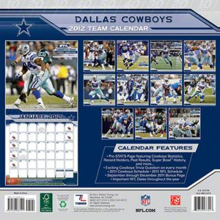 Dallas Cowboys 2012 Calendar: 12x12 Team Wall Calendar