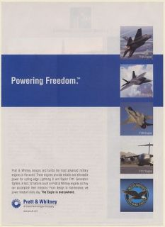 Pratt & Whitney Military Aircraft Engines F135 F119 F100 F117 Print Ad