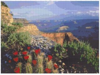 Southwest Grand Canyon Cactus Flowers ~ Counted Cross Stitch Chart