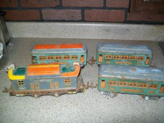 VINTAGE PRE WAR O GAUGE LIONEL #253 ENGINE, 608 OBSERVATION, (2) 607
