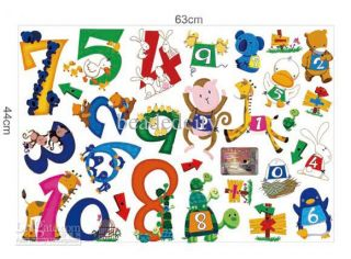 Animal Numbers Kids Bedroom Nursery Early Learning Wall Stickers