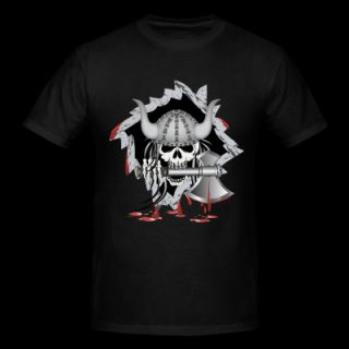 Black Viking Skull T Shirts